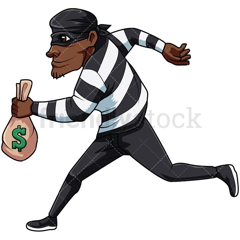 black thief stealing money cartoon vector clipart friendlystock rh friendlystock com theft clip art thief face clip art