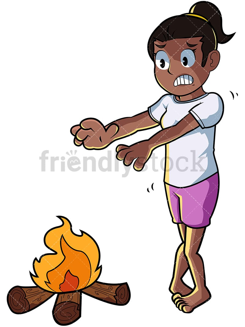 Black Woman Warming Hands Over Fire