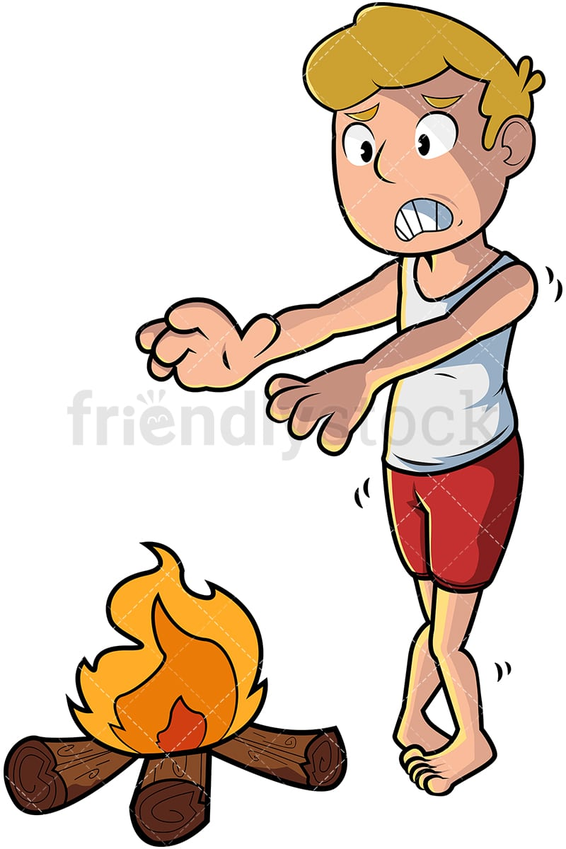 cold man warming hands over fire cartoon vector clipart friendlystock rh friendlystock com