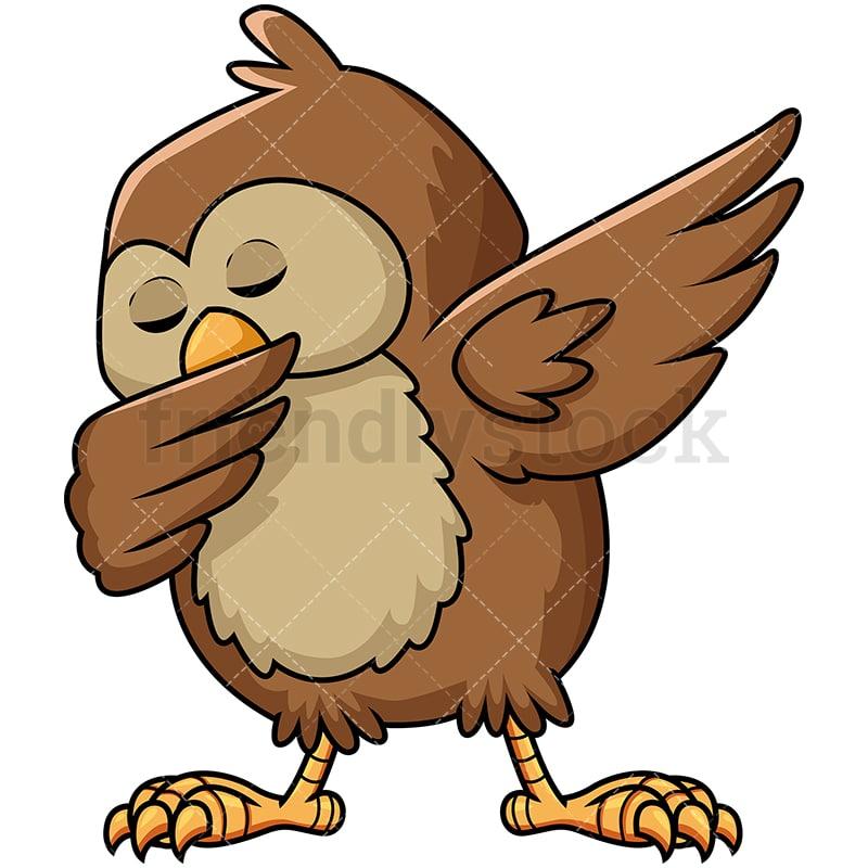 dabbing owl cartoon vector clipart friendlystock