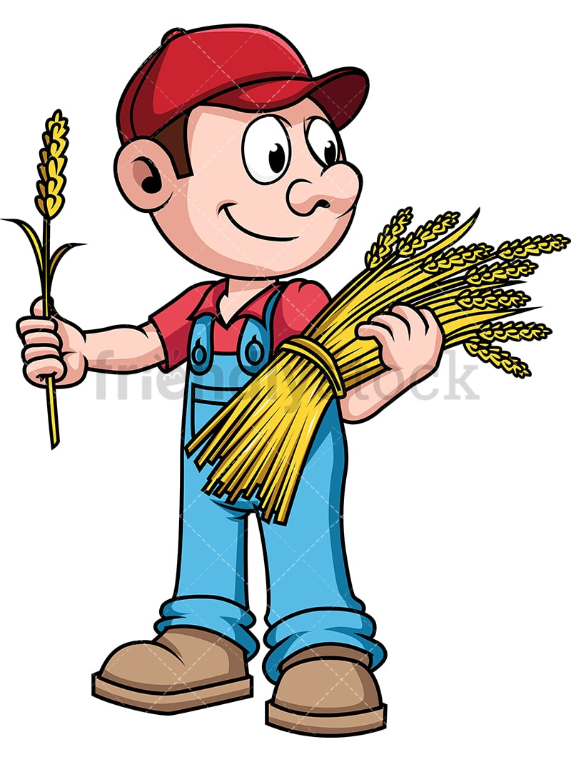farmer harvesting wheat cartoon vector clipart friendlystock rh friendlystock com farmer clipart png farmer clipart outline