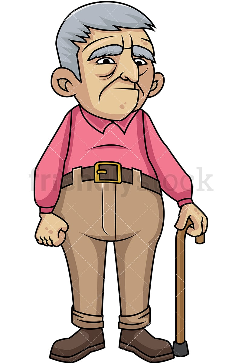 sad old man with walking stick cartoon vector clipart friendlystock rh friendlystock com old man clip art images old man clip art cartoon