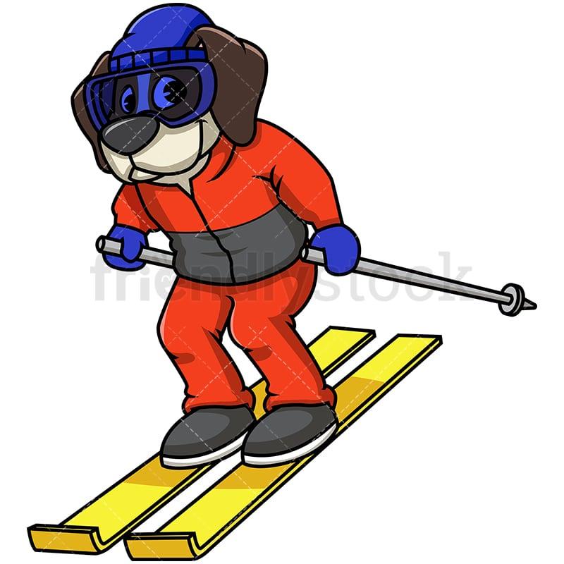 beagle dog skiing cartoon vector clipart - friendlystock