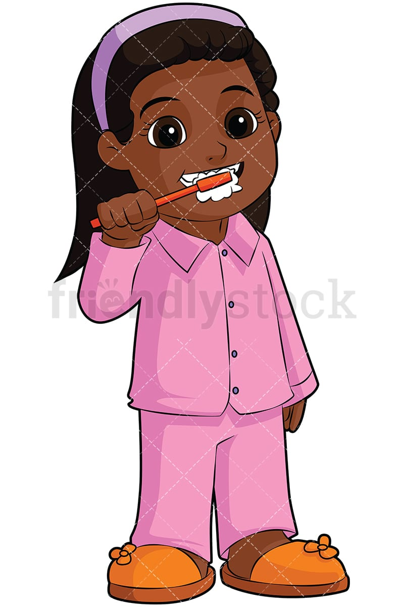 black girl brushing teeth cartoon vector clipart - friendlystock