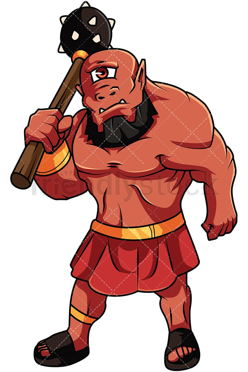 ogre with mace cartoon vector clipart friendlystock rh friendlystock com Cyclops Cartoon cyclops clipart