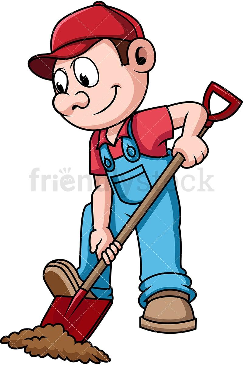 farmer digging the soil cartoon vector clipart friendlystock rh friendlystock com farmer digging clipart backhoe digging clipart