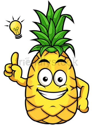 Pineapple having great idea. PNG - JPG and vector EPS file formats (infinitely scalable). Image isolated on transparent background.