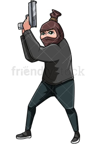 Bank robber holding gun. PNG - JPG and vector EPS file formats (infinitely scalable). Image isolated on transparent background.