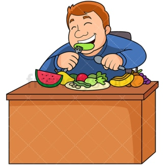 Overweight man eating healthy fruits veggies. PNG - JPG and vector EPS file formats (infinitely scalable). Image isolated on transparent background.