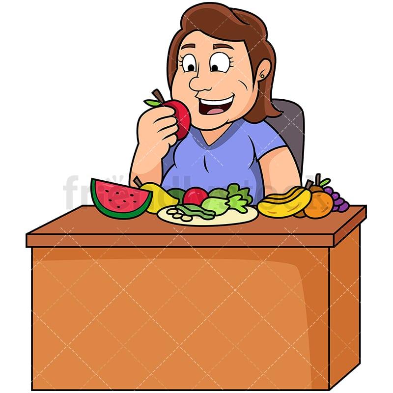 Fat Woman Eating Healthy Foods Cartoon Vector Clipart Friendlystock