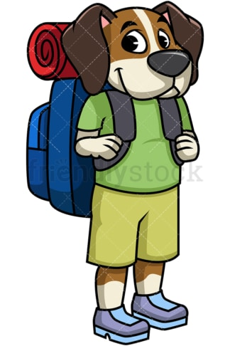 Backpacking dog traveler. PNG - JPG and vector EPS file formats (infinitely scalable). Image isolated on transparent background.