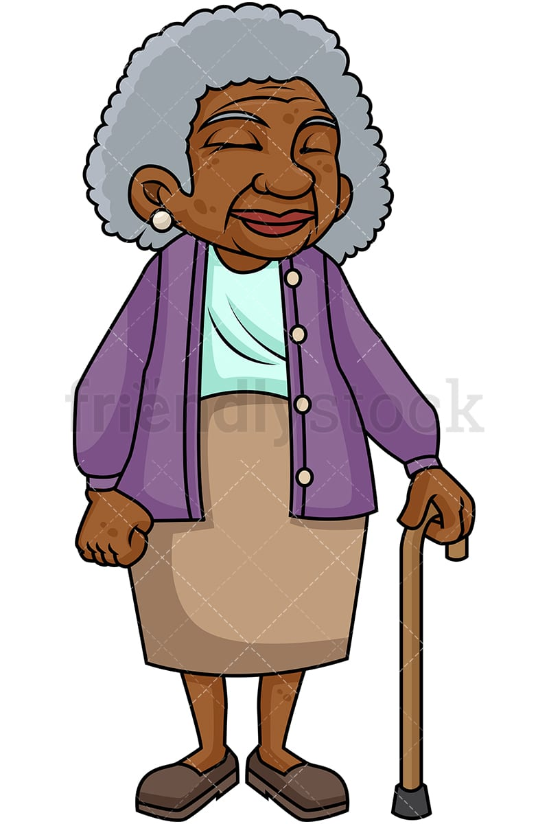 black old woman with walking stick cartoon vector clipart rh friendlystock com old woman cartoon clipart old woman clipart black and white