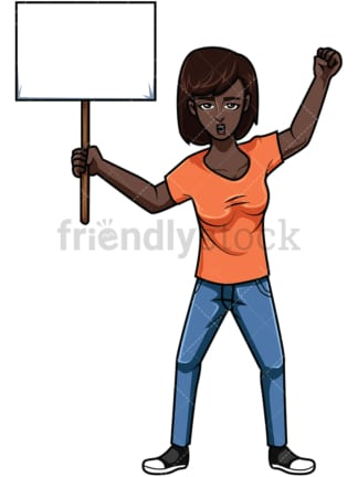 Black woman holding protest sign. PNG - JPG and vector EPS file formats (infinitely scalable). Image isolated on transparent background.