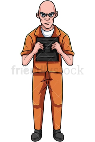 Criminal in orange prison jumpsuit. PNG - JPG and vector EPS file formats (infinitely scalable). Image isolated on transparent background.