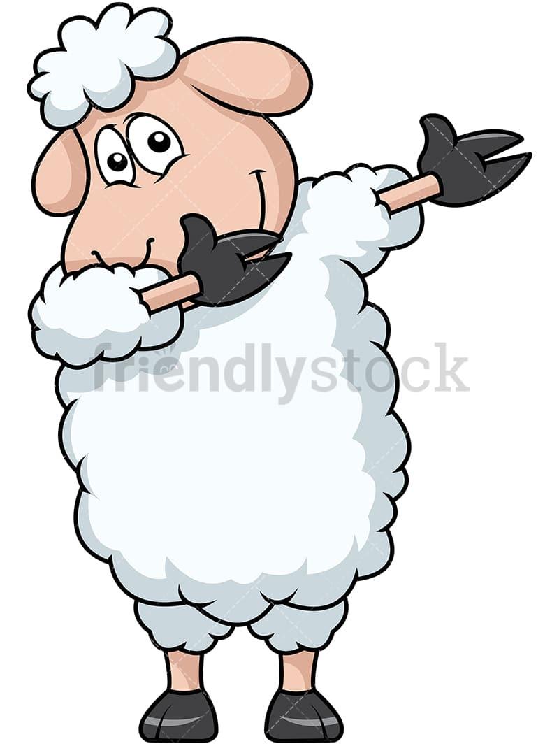 dabbing sheep cartoon vector clipart friendlystock rh friendlystock com cartoon sheep face images cartoon black sheep images