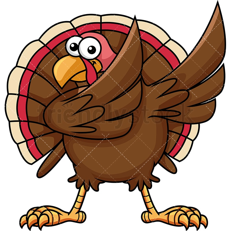 dabbing turkey cartoon vector clipart friendlystock rh friendlystock com cartoon turkey head clip art cartoon turkey head clip art