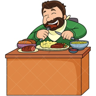 Overweight man eating a lot of food. PNG - JPG and vector EPS file formats (infinitely scalable). Image isolated on transparent background.