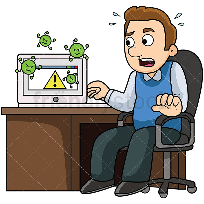 man with virus infected computer cartoon vector clipart friendlystock rh friendlystock com computer virus images cliparts Computer Software Clip Art