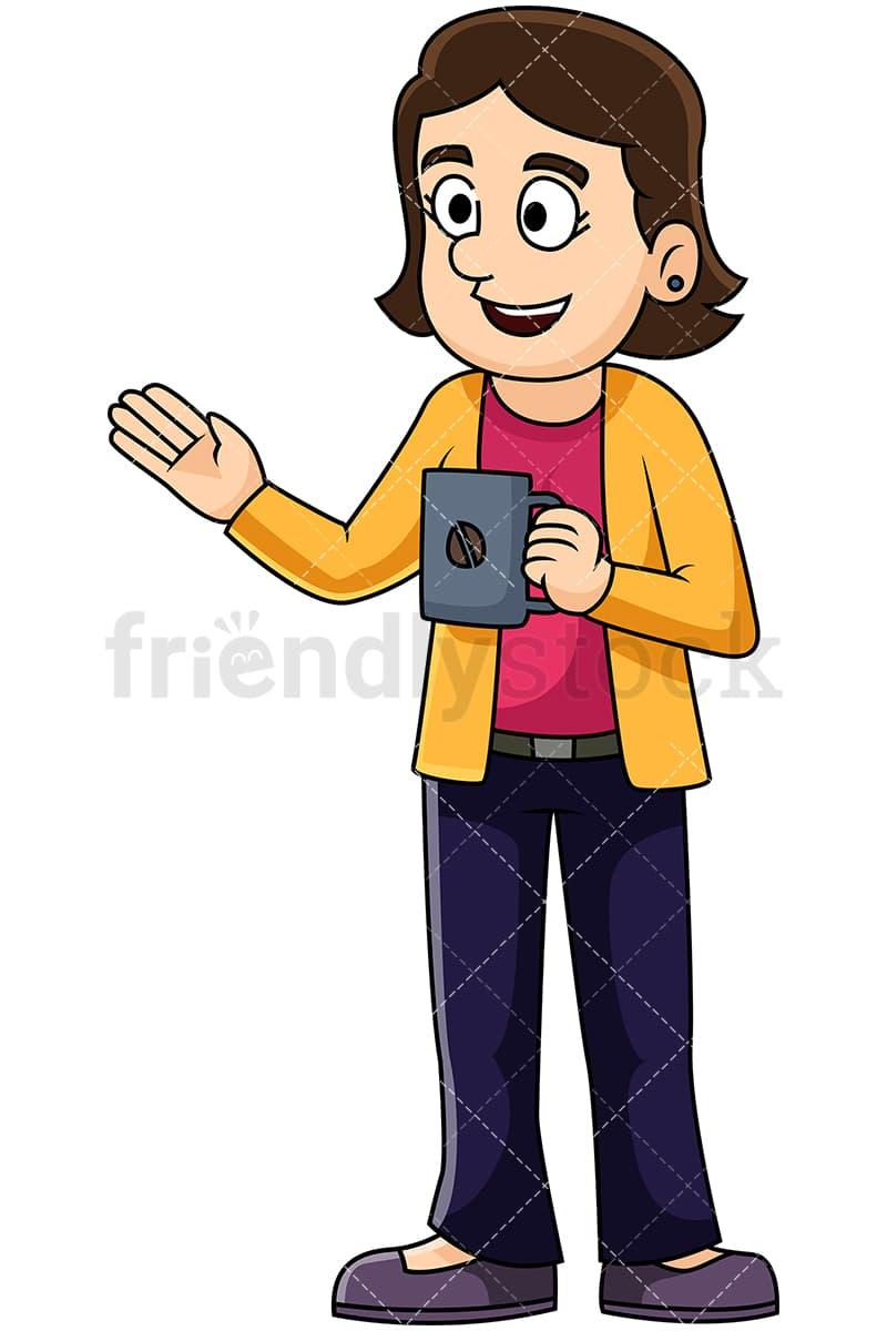Woman Talking Over Coffee Vector Cartoon Clipart Friendlystock