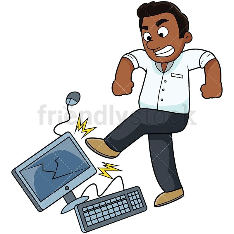 Angry Black Man Kicking Puter Png Jpg And Vector Eps Formats Infinitely