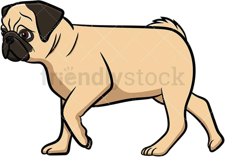 apricot pug dog walking cartoon vector clipart friendlystock rh friendlystock com dog walkers clipart walk the dog clipart