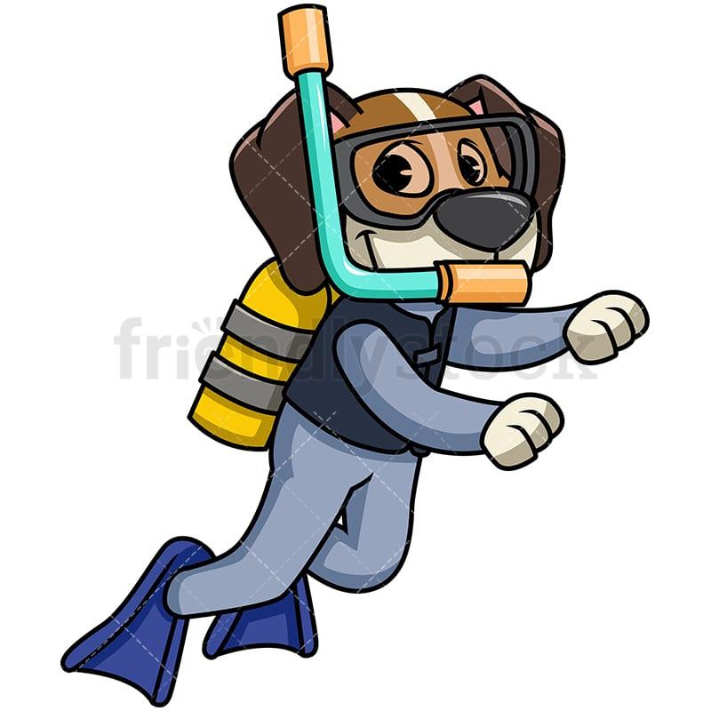 beagle dog scuba diving cartoon vector clipart friendlystock rh friendlystock com how to draw cartoon scuba diver far side cartoon scuba diver