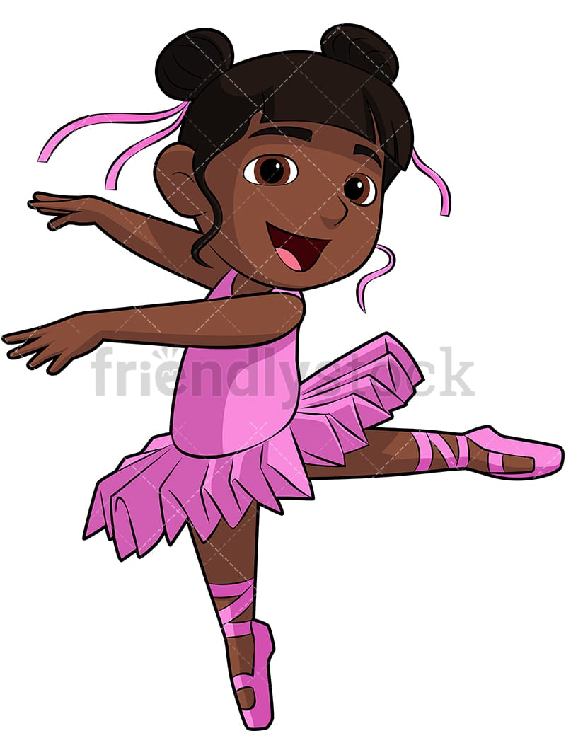 Black Girl Ballerina Cartoon Vector Clipart Friendlystock