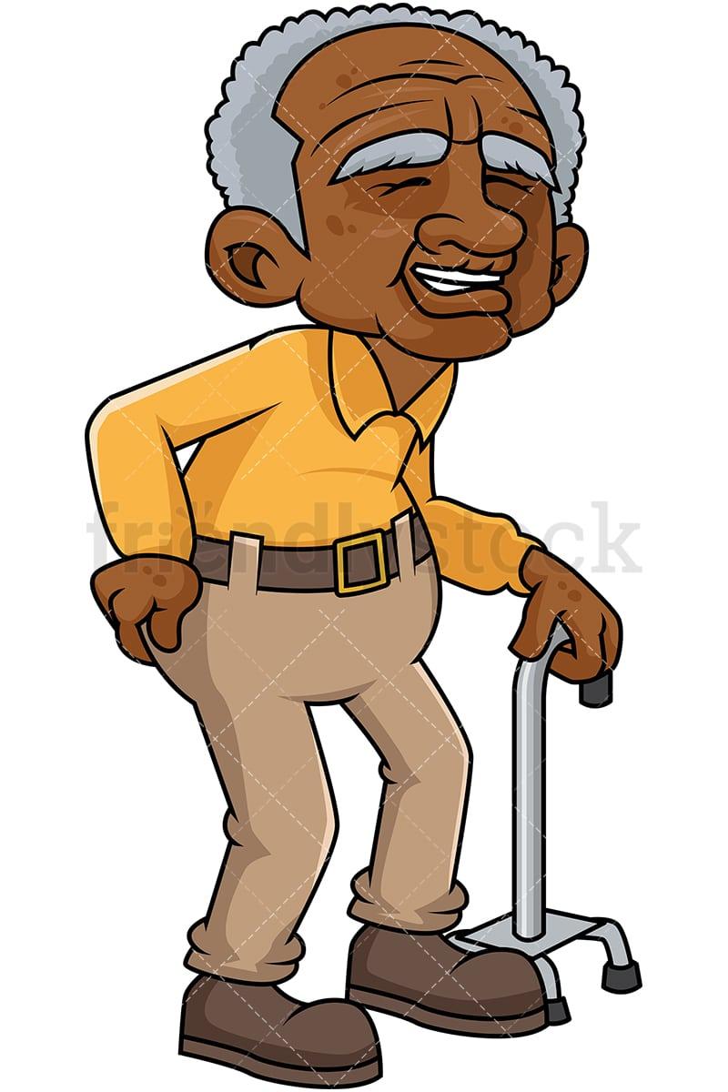 black old man with hip pain cartoon vector clipart friendlystock rh friendlystock com old man clip art pictures old man clip art cartoon