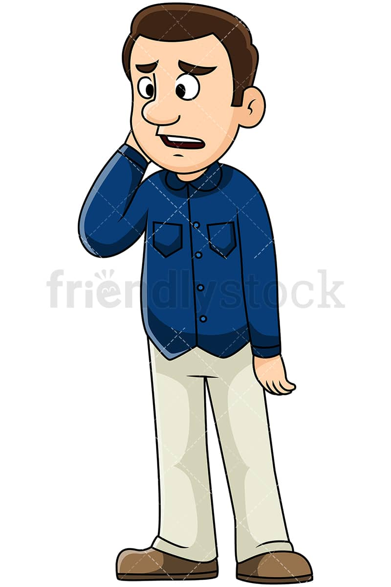 Sad Man Hearing Bad News Vector Cartoon Clipart Friendlystock