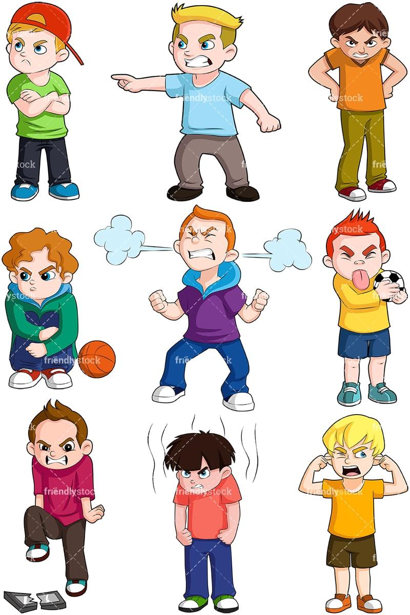 Angry Boys Cartoon Vector Clipart Friendlystock