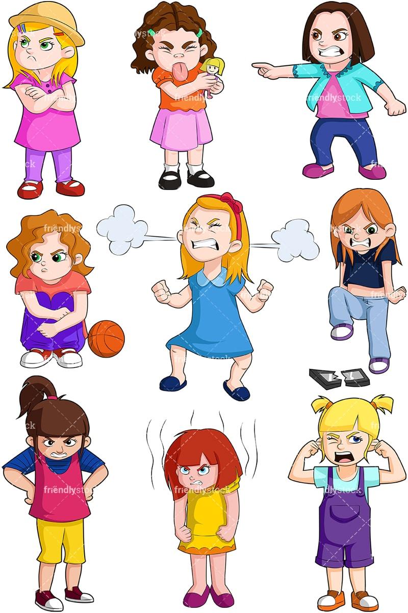 Angry Little Girls Cartoon Vector Clipart Friendlystock