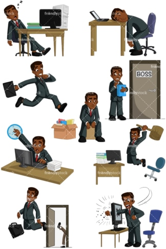 Black businessman having trouble at work. PNG - JPG and vector EPS (infinitely scalable). Images isolated on transparent background.