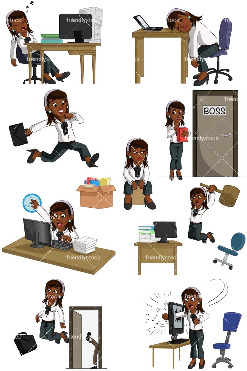 black businesswoman problems at work vector cartoon clipart