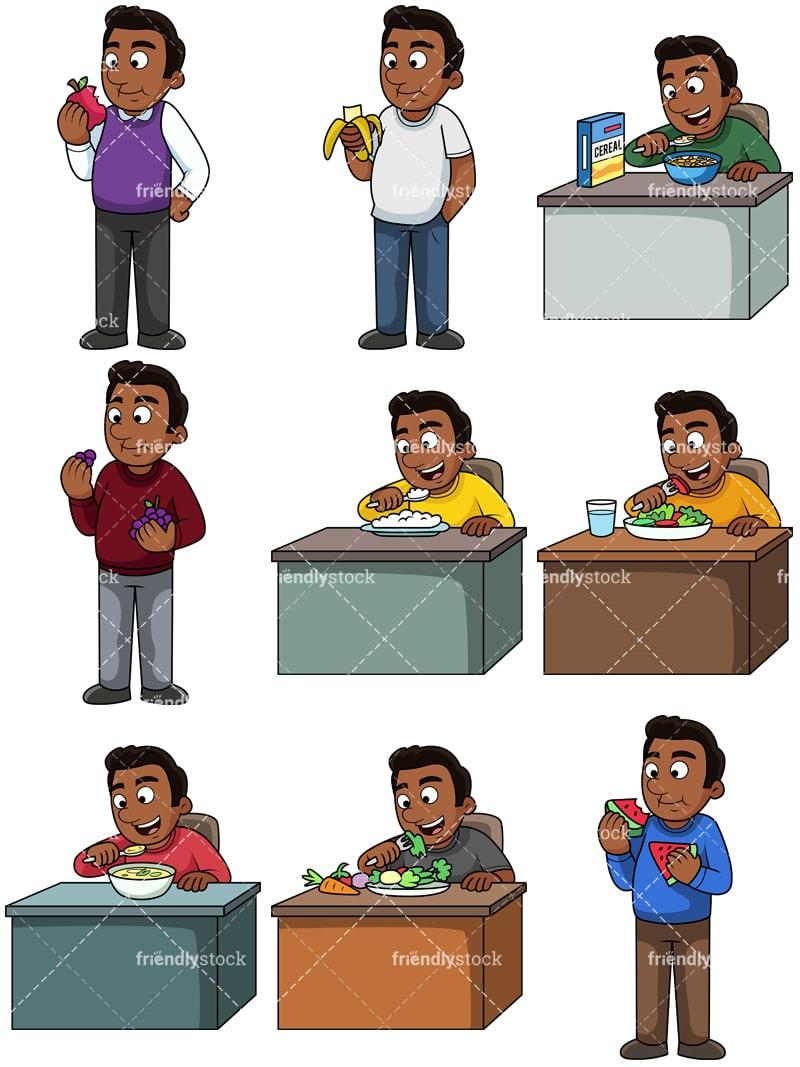 Black Man Eating Healthy Cartoon Vector Clipart Friendlystock