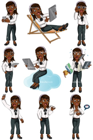Black woman using modern devices. PNG - JPG and vector EPS (infinitely scalable). Images isolated on transparent background.