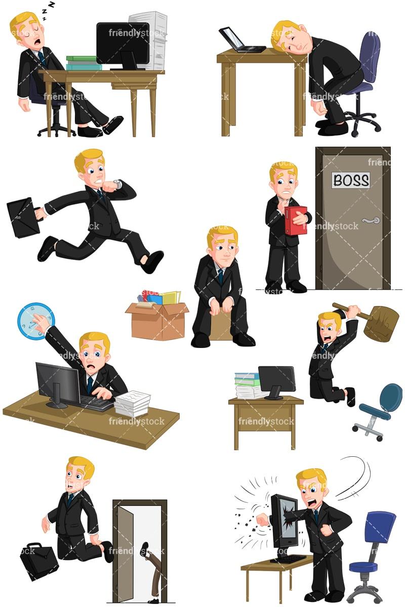 businessman having problems at work vector cartoon clipart