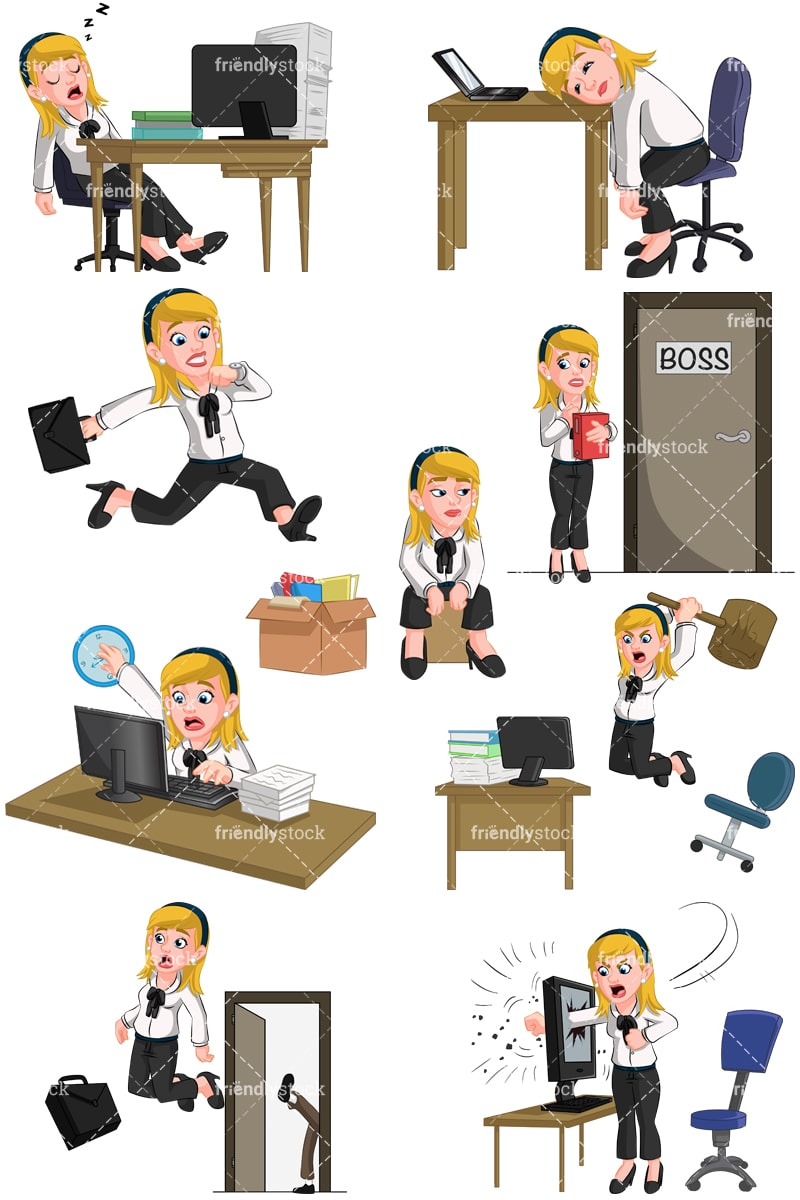businesswoman having trouble at work vector cartoon clipart