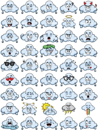 Cloud emoticons bundle. PNG - JPG and vector EPS file formats (infinitely scalable). Images isolated on transparent background.