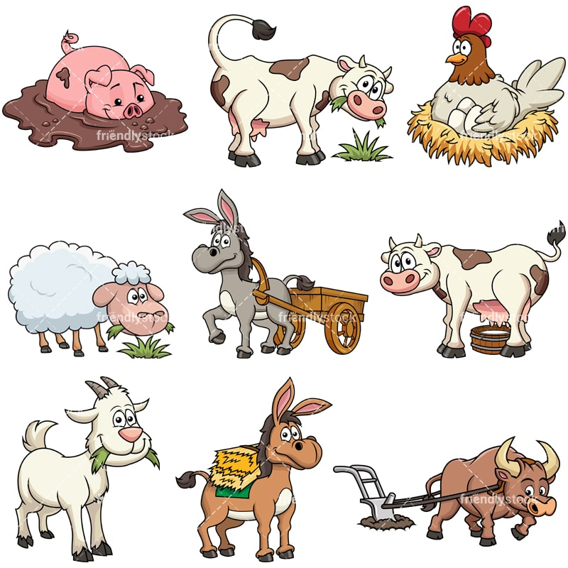 farm animals cartoon vector clipart friendlystock rh friendlystock com cartoon clipart of farm animals clipart farm animals