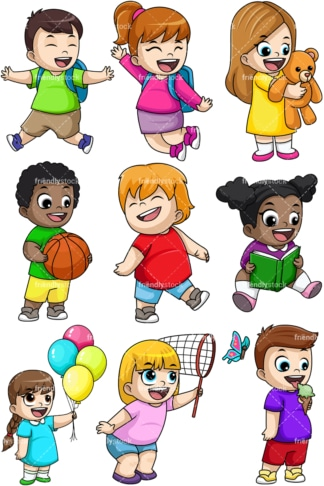Happy kids. PNG - JPG and vector EPS file formats (infinitely scalable). Image isolated on transparent background.