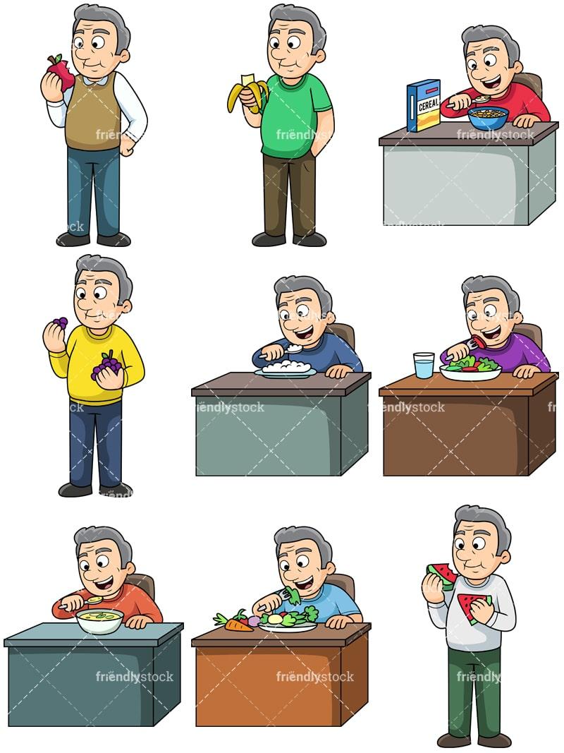 Old Man Eating Healthy Food Cartoon Vector Clipart Friendlystock