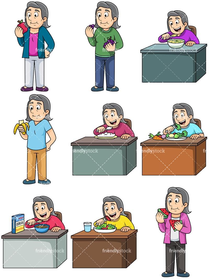 Old Woman Eating Healthy Food Cartoon Vector Clipart Friendlystock
