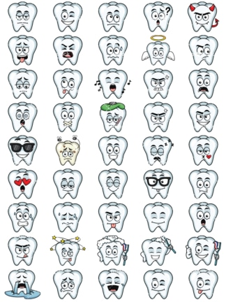 Tooth emoticons bundle. PNG - JPG and vector EPS file formats (infinitely scalable). Images isolated on transparent background.