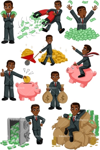 Wealthy black business man. PNG - JPG and vector EPS (infinitely scalable). Images isolated on transparent background.