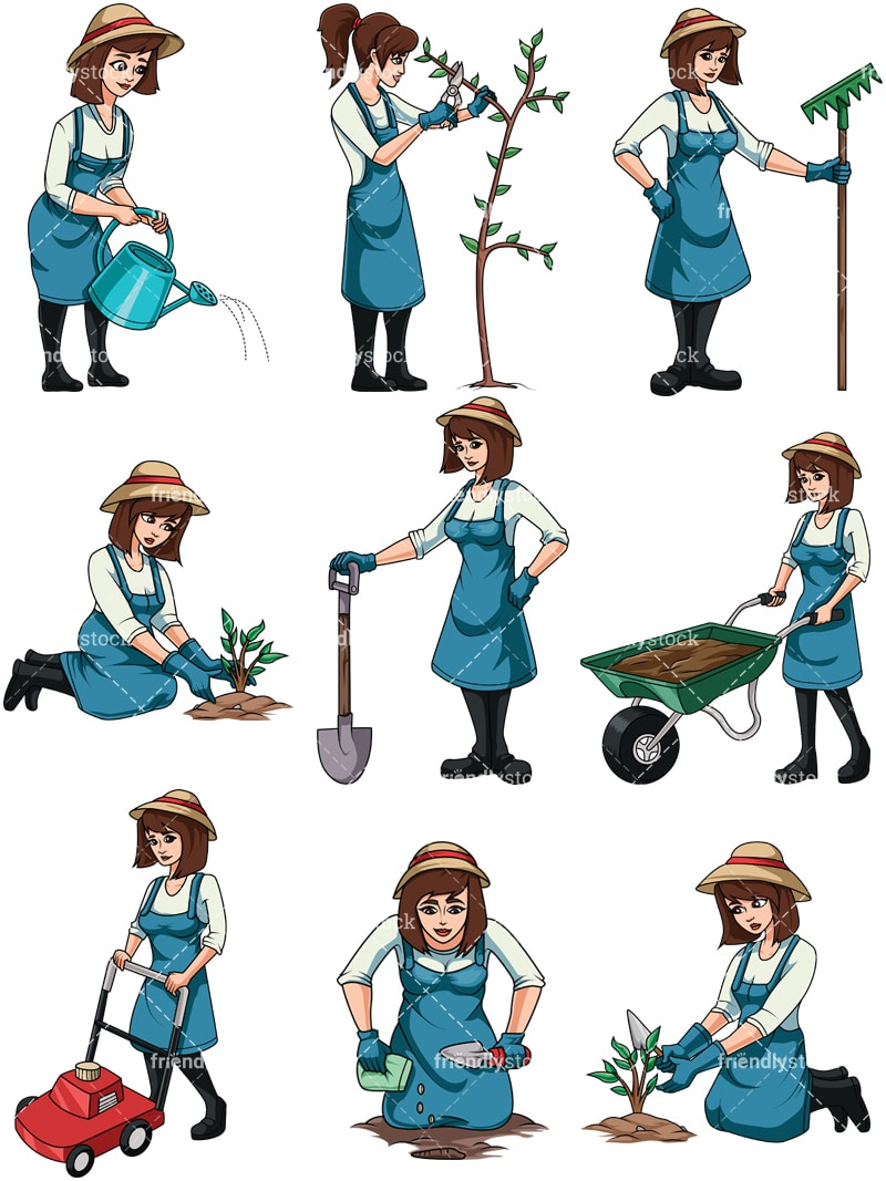 Woman Gardening Cartoon Vector Clipart Friendlystock