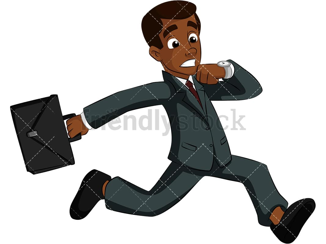 Black Businessman Running Late Cartoon Vector Clipart Friendlystock