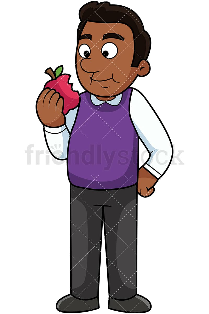 Black Man Eating Apple