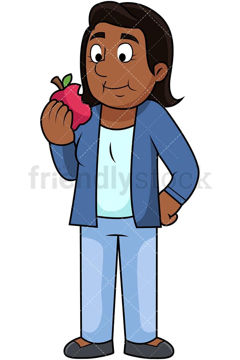 Black Woman Eating Apple