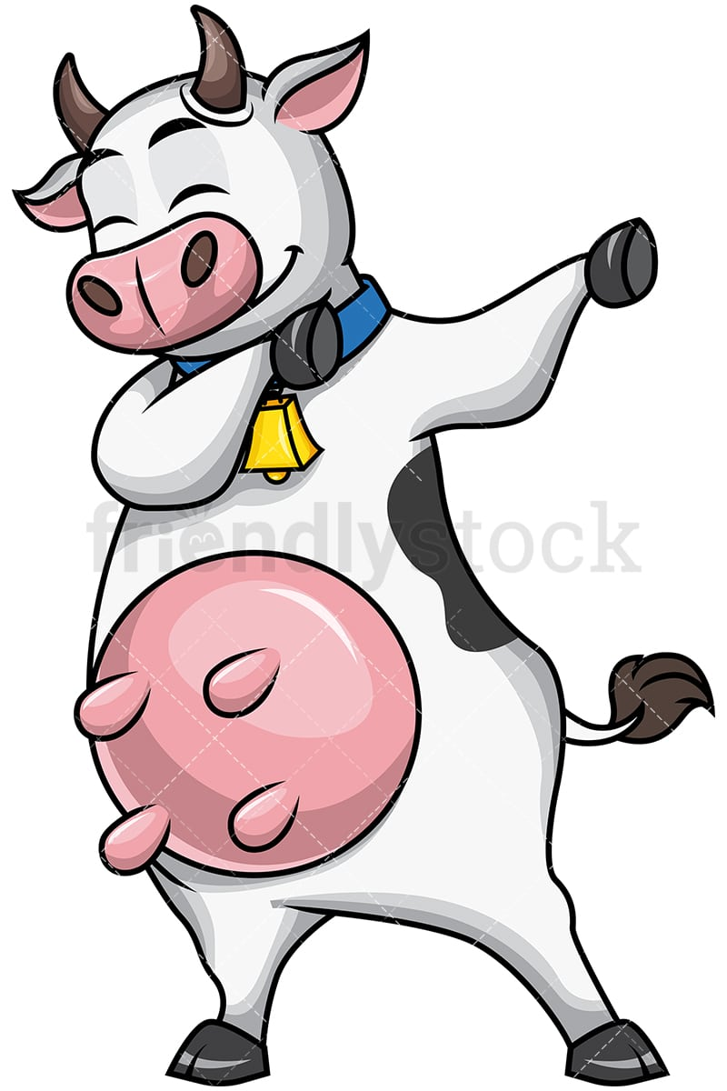 Dabbing Cow Cartoon Vector Clipart Friendlystock