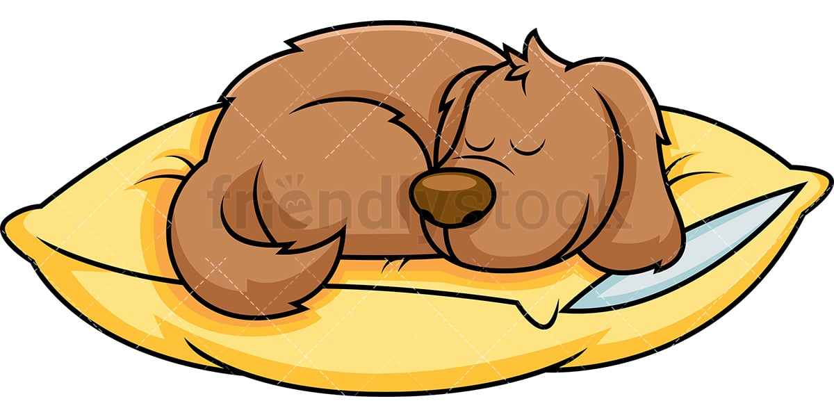 dog cartoon sleeping on pillow vector clipart friendlystock rh friendlystock com clipart the dog is sleeping